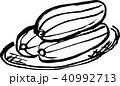 沖縄野菜のヘチマ3つ(ナーベーラー)筆書きモノクロ 40992713