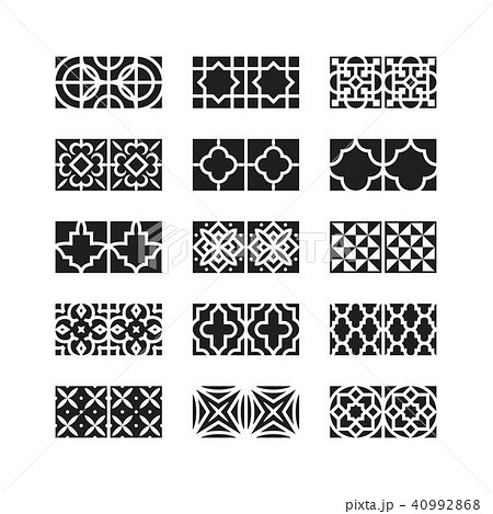 arabic ornament icon, vector set 40992868
