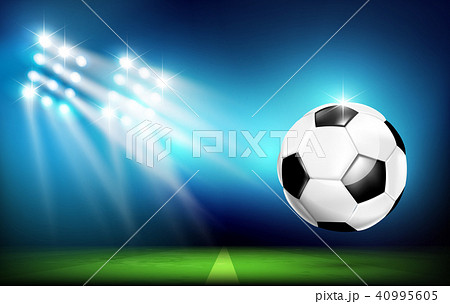 Soccer ball with stadium and lighting 001 40995605