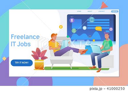 creative website template design of remote working freelancer