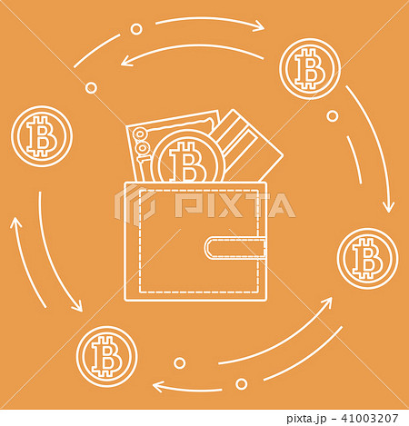 Purse with banknote, credit card and bitcoin 41003207