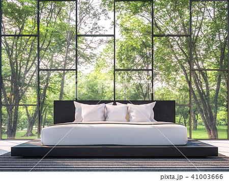 Modern bedroom with garden view 3d render 41003666