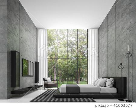 Modern loft  bedroom 3d render 41003677