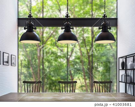 Modern loft dining room 3d render 41003681