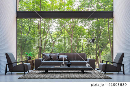 Modern loft living room with nature view 3d render 41003689