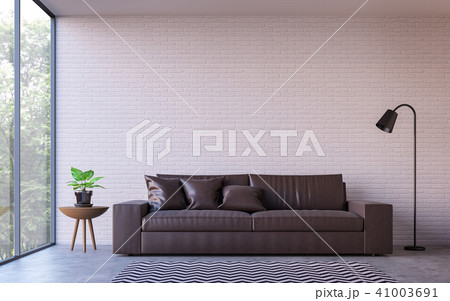 Modern loft living room with nature view 3d render 41003691