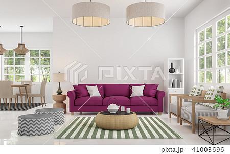 Modern white living room and dining room 3d render 41003696