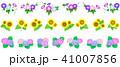夏の花 飾り罫(ライン)朝顔 向日葵 紫陽花 41007856