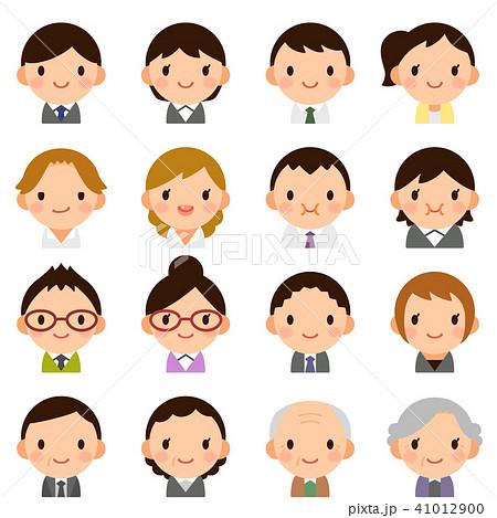 様々な世代の会社員 男女 スーツ 顔 表情 かわいい フラット アイコン セット 41012900