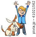 少年 わんこ 犬のイラスト 41021562
