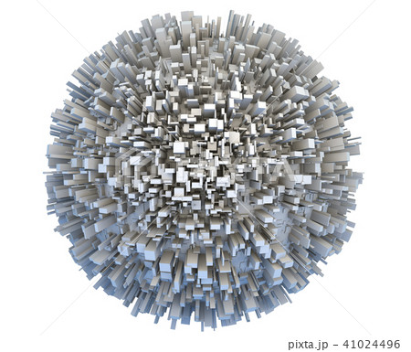 Abstract 3d Planet Covered by Simple Box Skyscraper City Buildings 41024496
