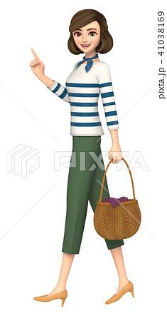 3D イラスト - 普段着の女性が案内をしている 41038169