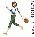3D イラスト - 普段着の女性が走っている 41038171