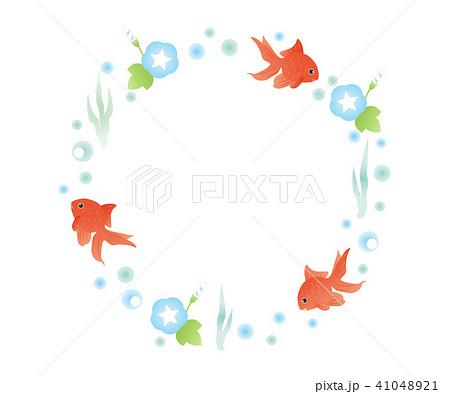 金魚とあさがおの丸フレーム 41048921