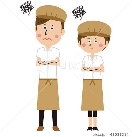 ポップなカフェ店員またはパン屋の男女ペア 困る 41051214