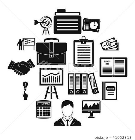 business plan icons set simple styleのイラスト素材 41052313 pixta