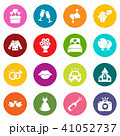 Wedding icons set colorful circles vector 41052737