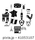 France travel icons set, simple style 41053107