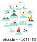 Water sport set flat icons 41053458