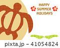 ホヌ・ウミガメ柄|暑中見舞い葉書デザイン|海亀をモチーフとしたデザイン|夏のイメージ 41054824
