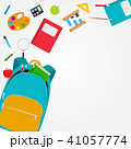 Bag, backpack icon with school accessories. Vector Illustration 41057774