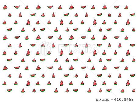 黒い線画 スイカのテキスタイル 41058468