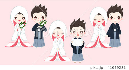 cartoon japanese wedding couple 41059281