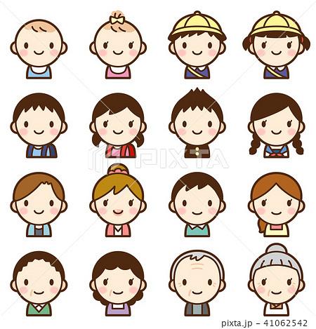 様々な世代の家族 男女 夫婦 子供 赤ちゃん 顔 表情 かわいい アイコン セット 41062542