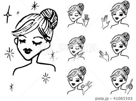 黒い線画 上半身女性 美容 イラスト 41065503