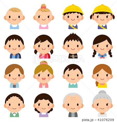 様々な世代の家族 男女 夫婦 子供 赤ちゃん 顔 表情 かわいい フラット
