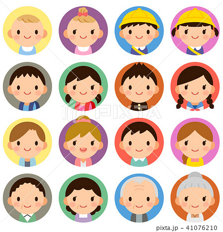 様々な世代の家族 男女 夫婦 子供 赤ちゃん 顔 表情 かわいい フラット 丸アイコン セット 41076210