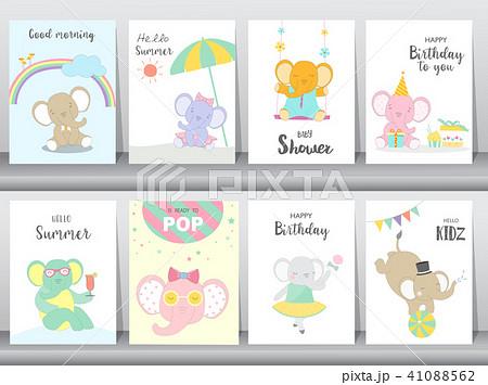 set of baby shower and happy birthday invitationsのイラスト素材
