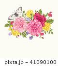 背景 花束 蝶のイラスト 41090100