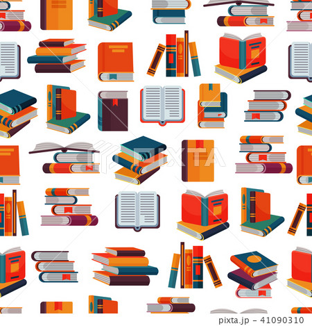 Books vector stack of textbooks and notebooks on bookshelves reading literature in library or 41090310