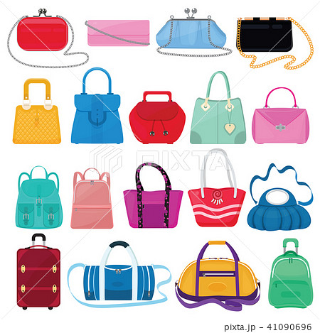 Woman bag vector girls handbag or purse and shopping-bag or clutch from fashion store illustration 41090696