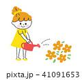 お花に水をあげる女の子 41091653