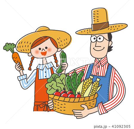 農作物をかかえて笑顔の夫婦 41092305