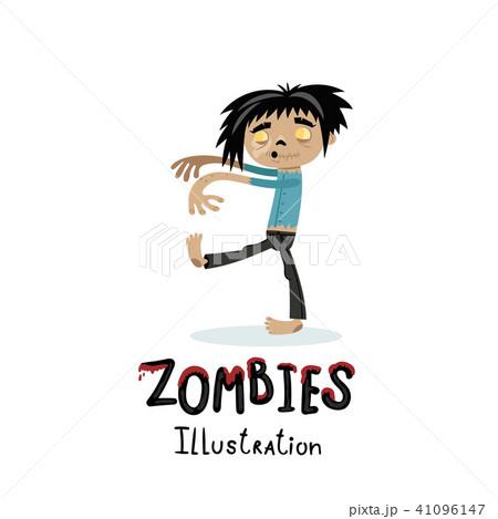 cute walking dead man character in cartoon styleのイラスト素材