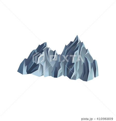 Silhouette of mountain range. Rocky hill with lights and shadows. Mountaineering theme. Flat vector 41096809