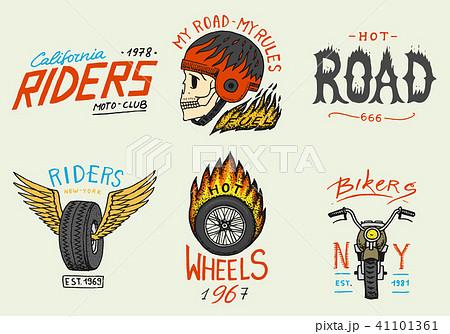 Motorcycles and biker club templates. Vintage custom skull emblems, labels badges for t shirt 41101361