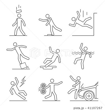 Common Accidents Signs Black Thin Line Icon Set. Vector 41107267