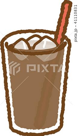 アイスカフェオレストロー赤のイラスト素材 41110831 Pixta
