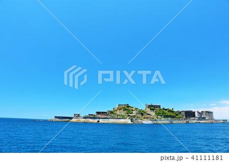 長崎県 青空の軍艦島 41111181