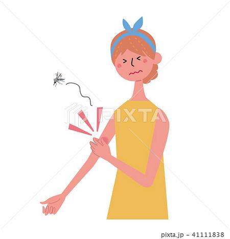 虫さされに悩む 女性 イラスト 41111838
