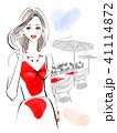 きれいな女性 赤ドレス 41114872