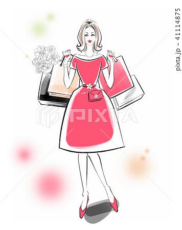 ショッピング 赤ドレス 41114875