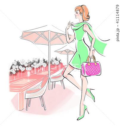 おしゃれして街へ ライムのドレス 41114879