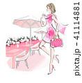 おしゃれして街へ ピンクのドレス 41114881