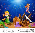 Illustration mermaid under the sea  41118175