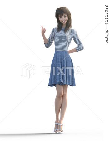 ロングヘアの若い女性  perming3DCGイラスト素材 41119033